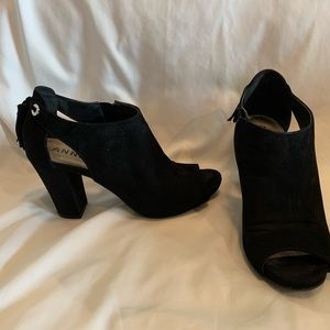 Anne Klein Black Suede Booties